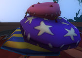 Purple star pillow pile